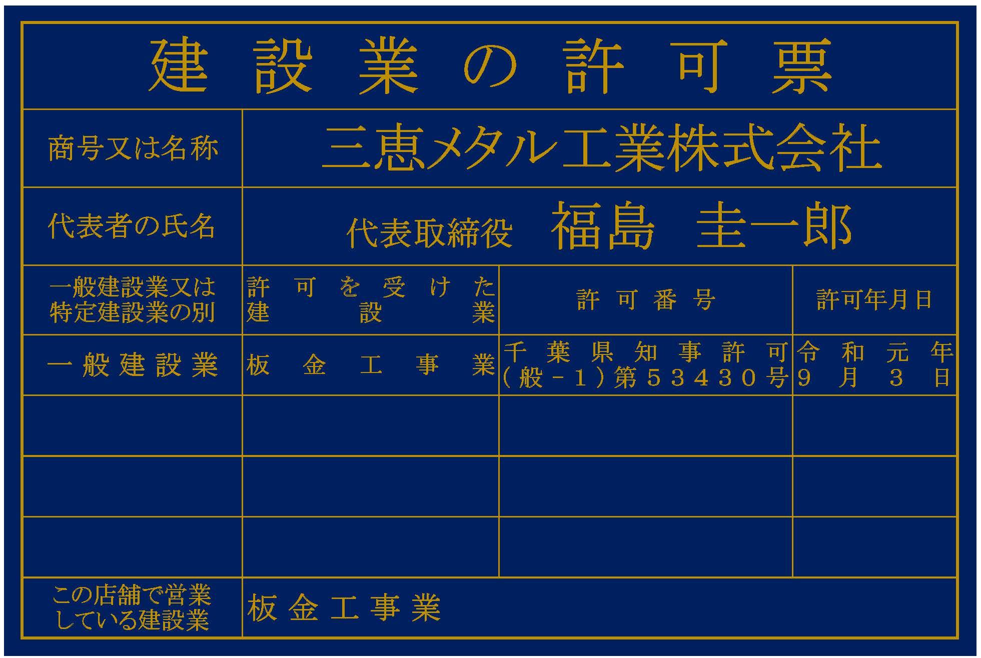 県知事許可票